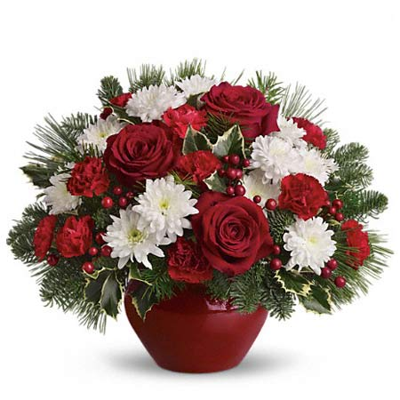 Christmas flowers bouquet with cheap flowers, white chrysanthemums and red roses
