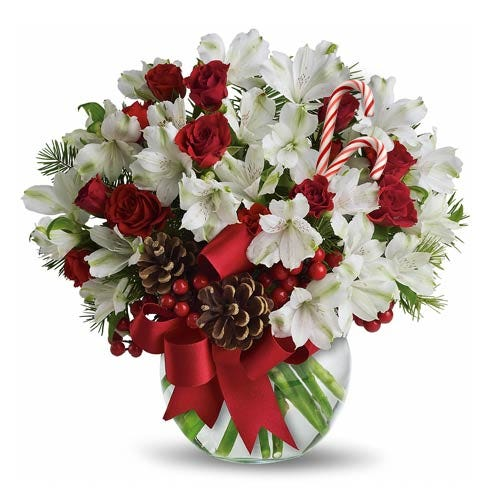 white alstoemeria flower bouquet with christmas flowers and candy cane delivery