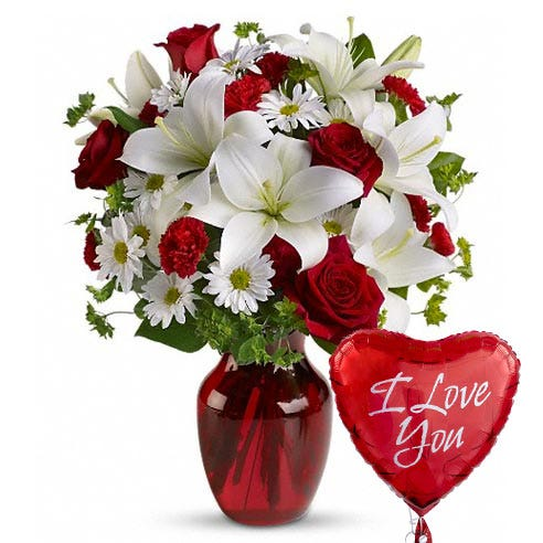 I love you flowers bouquet with red roses, white lily and i love you balloon