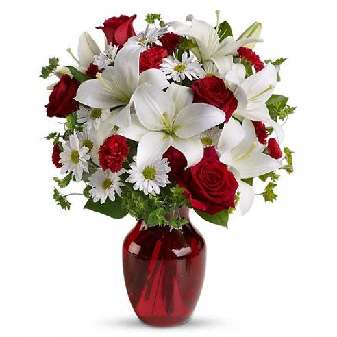 Romantic red rose white lily flowers bouquet with white daisies and red vase