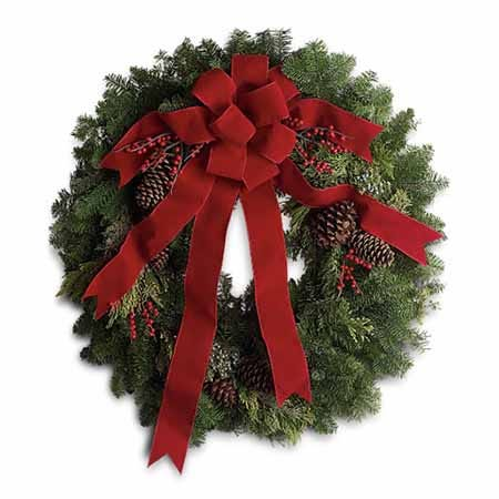 Christmas flowers and holiday wreath at send flowers with same day delivery