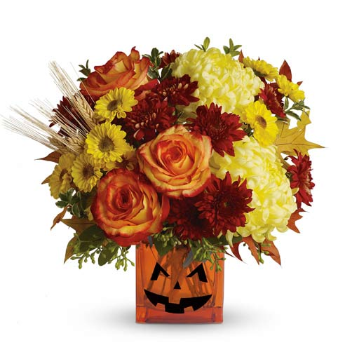 Jack O Lantern pumpkin Halloween flowers bouquet with Halloween flowers