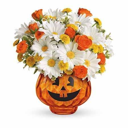 Pumpkin bouquet and halloween flower bouquet of white daisies and orange roses