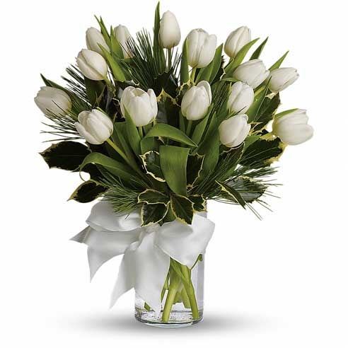 Unique Valentine flower arrangements white tulip bouquet