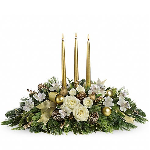 Winter white flowers and christmas flower arrangement