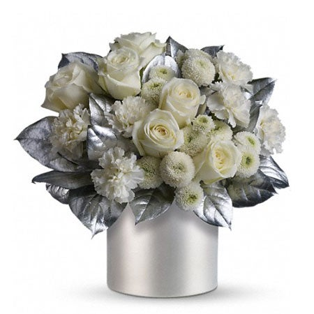 White Christmas flower arrangement for same day delivery