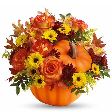 Orange pumpkin bouquet with orange roses and cheap flowers