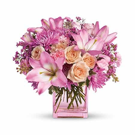 Delivery flowers for mom with pink lilies, peach roses, and cheap flowers