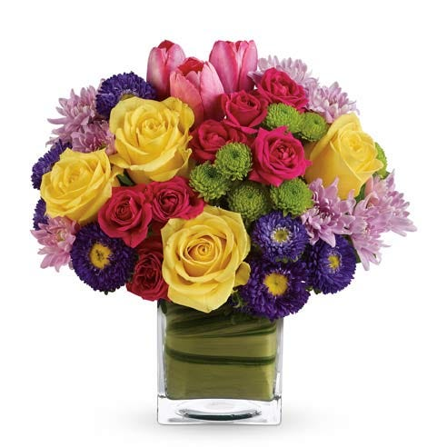 Premium brightly colored mixed flower bouquet with yellow, hot pink and purple flowers