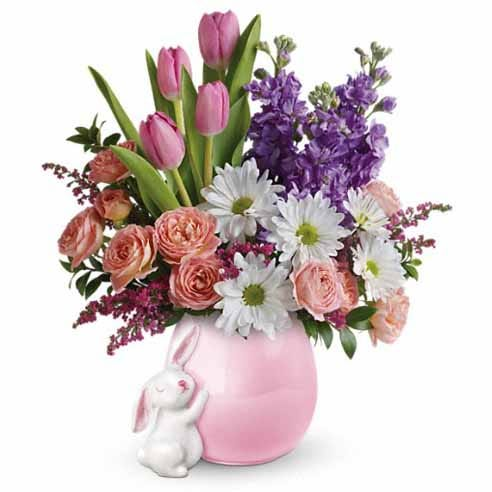 Porcelin bunny flower vase with pink tulips, peach spray roses and white daisy