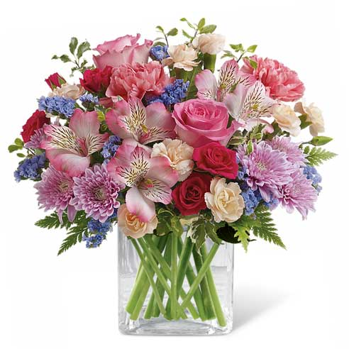 mixed pink rose flower bouquet delivery with same day cheap flowers delivery