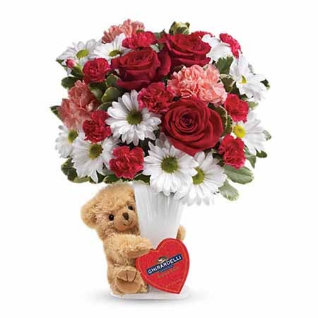 Unique Valentine flower arrangements bear, chocolate and flowers delivery