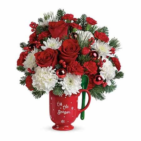 Christmas flowers from send flowers online with red roses and coffee mug