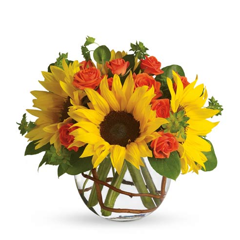 Sunflower bouquet delivery from send flowers with mini orange roses and cheap flowers