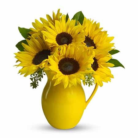 Yellow sunflower pitcher flower bouquet with yellow water pitcher and sunflowers
