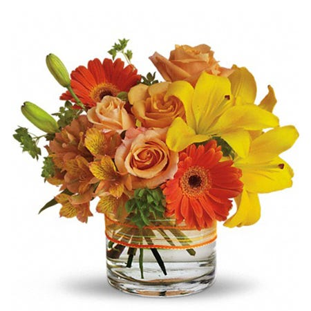 Orange roses with cheap flower delivery from Send Flowers