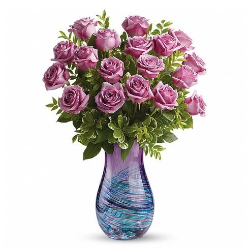 Long stem purple roses bouquet with blue and purple swirl design glass vase