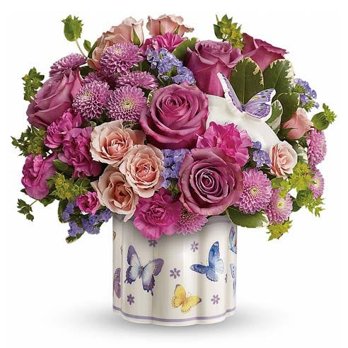 butterfly flower bouquet with butterfly flower vase for same day flower delivery
