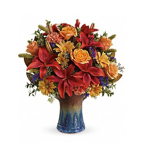 Autumn orange lily and peach rose bouquet with Fall Thanksgiving flowers