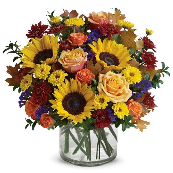 Country farm sunflower, peach rose and mini orange roses bouquet