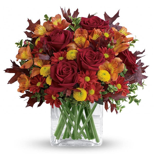 Fall red roses and yellow poms mixed fall flowers bouquet with gold leaf vase