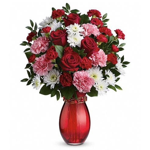 Red rose mixed bouquet from sendflowers, shop free delivery flowers