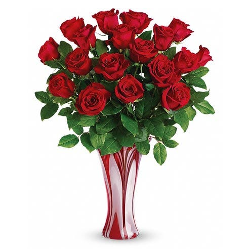 Luxury long stem red roses bouquet with premium swirl red glass blown vase