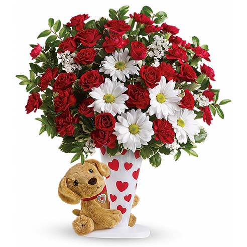 Stuffed animal dog delivery with red roses bouquet and white daisies