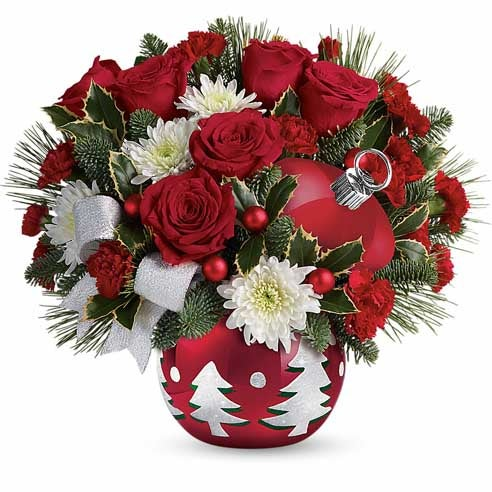 Red christmas flowers and ornament holiday bouquet from send flowers