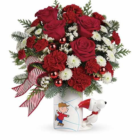 Christmas flowers and charlie brown gift, charlie brown flower bouquet