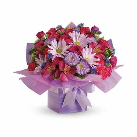 Lavender daisy, purple mums, hot pink alstroemeria and pink spray rose birthday bouquet