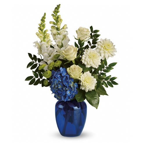 White and blue flower bouquet with cheap flowers, white roses and blue hydrangea