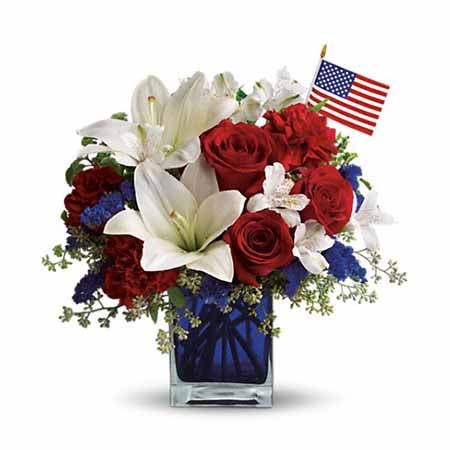 Patriotic flowers at send flowers, cheap flowers with red roses and white lily