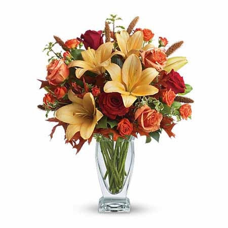 Rose and lily bouquet with red roses & orange lilies from sendflowers