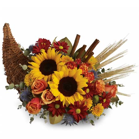 Cornucopia flower bouquet with large sunflowers and mini orange roses