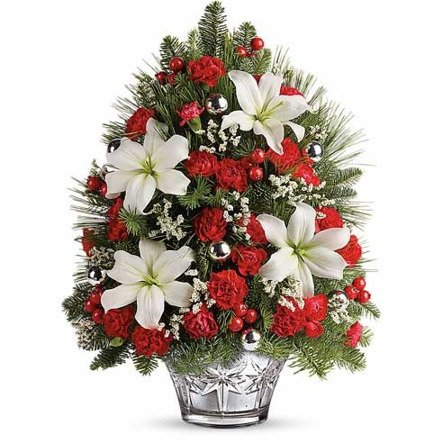 Small christmas tree delivery and mini christmas tree with red carnations and white lily