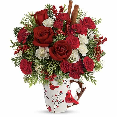 Christmas flower delivery with red roses, cheap flowers, and flowers inside a mug