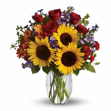 Sunflower bouquet with red roses for same day flower delivery on cheap flowers