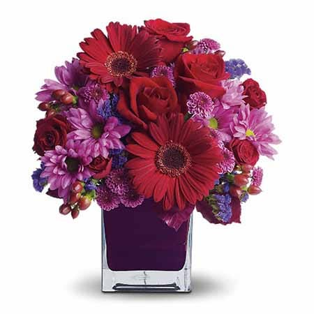 Purple flowers and cheap flowers with same day flower delivery