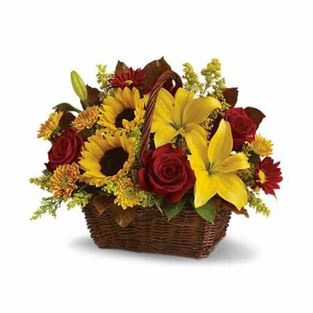 Sunflower bouquet from sendflowers with sunflowers & red roses