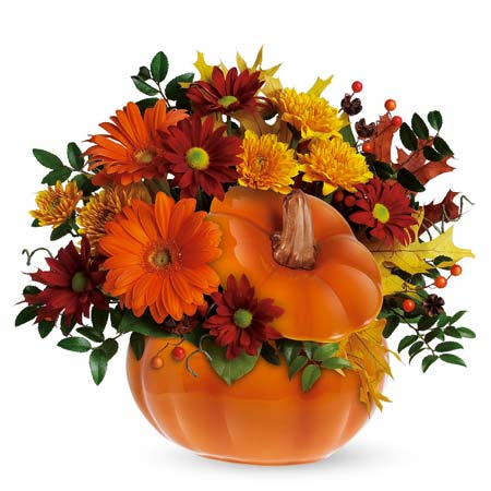 Country pumpkin bouquet same day delivery with fall orange flowers