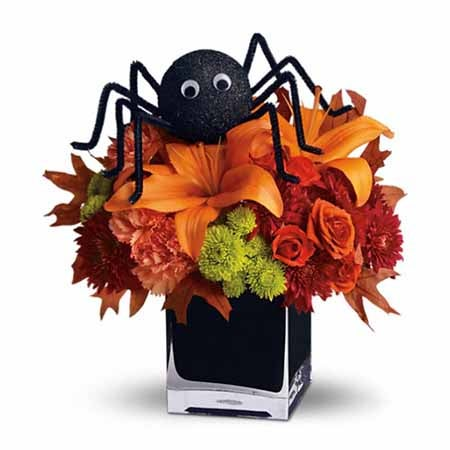 Ideas for Halloween gifts, a flowers spider bouquet
