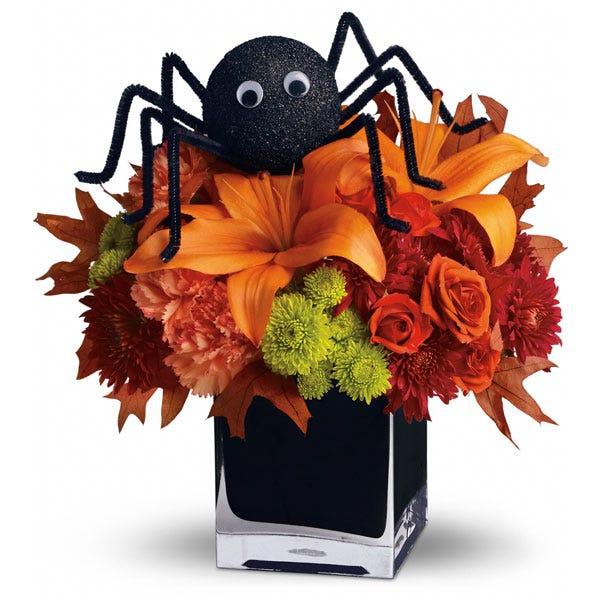 Halloween spider flower bouquet arrangement for same day Halloween flower delivery