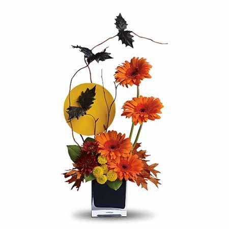 Ideas for Halloween gifts, bats Halloween flower bouquet