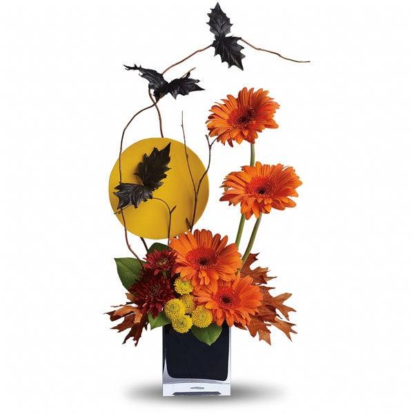 Halloween flowers and halloween flower bouquet of orange daisies, flower arrangements halloween