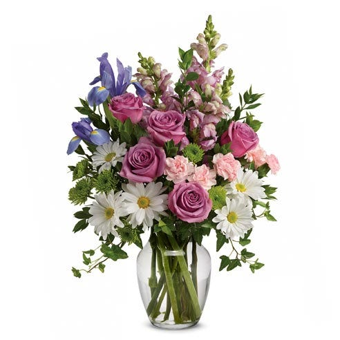 Spring lavender rose and white daisy bouquet with irises and white daisies