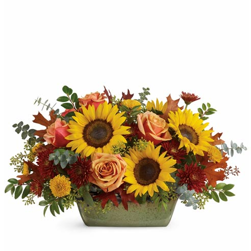 sunflowers centerpieces with orange roses, yellow mums and burgundy flower chrysanthemums