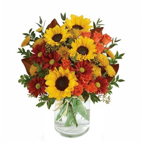 Sunset Sunflowers in Mason Jar