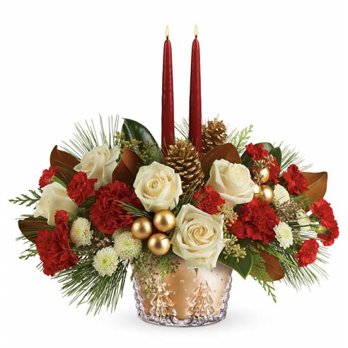 holiday christmas flower centerpiece in a contemporary christmas flowers arrangement
