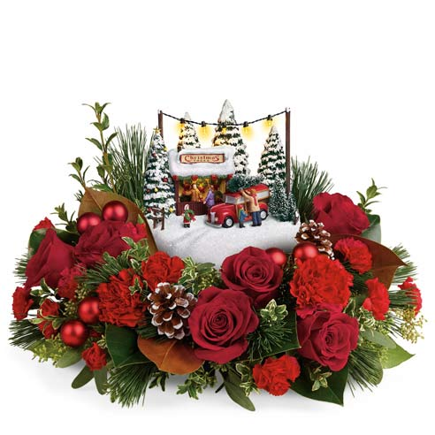 thomas kinkade flower centerpiece at send flowers
